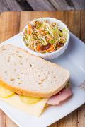 Sandwich and lentil salad - stock photo