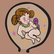 Baby Girl In Womb - stock illustration