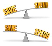 Stock Illustration of Weighing Whether To Save Or Spend