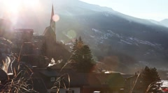 Austrian village during Magic Hour Stock Footage