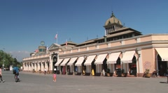 People walk in front of the Central Market building in Santiago, Chile. Stock Footage