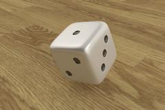 Rolling dice on wooden background Stock Illustration