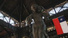 Exterior of the fountain sculpture at the central market of Santiago, Chile. Stock Footage