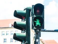 Ampelfrau Green Traffic Signal in Dresden Stock Photos