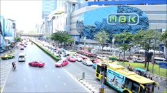Traffic road at Pa Tum Wan Junction in Bangkok Thailand Stock Footage