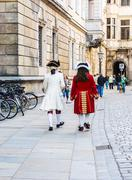 Costume Clad Walkers in Dresden, Germany Stock Photos
