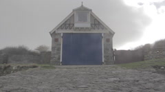 Old lifeboat station from slipway Stock Footage