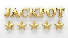 Jackpot with stars on white background - High quality 3D Render - stock illustration
