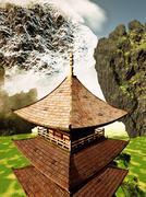 buddhist temple - stock illustration