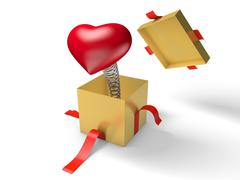 Surprise. The red heart jumps out of a golden gift box on a spring. - stock illustration