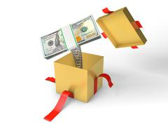 The stack of money jumps out of a gift box on a spring - stock illustration