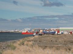 View to the sea port of Punta Arenas and Magellan Strait in Punta Arenas, Chile. Stock Footage