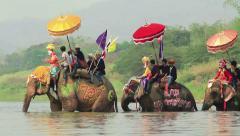 Songkran festival Sukhothai Thailand. - stock footage