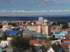 Stock Video Footage of View to the town of Punta Arenas and Tierra del Fuego in Punta Arenas, Chile.
