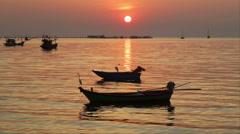 Sunset boats, white egrets, pier orange shimmering sea Stock Footage