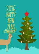 Christmas tree and deer. Holiday card for Christmas and new year. happy new y - stock illustration