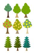 Set Tree icon fruit trees, conifers, forest trees. Vector illustration Stock Illustration