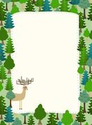 Conifers pattern. Background of trees and deer. Earth day. Template with spac Stock Illustration