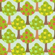Apple tree seamless pattern. Orchard background Stock Illustration