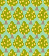 Pear tree seamless pattern. Orchard background. Garden trees ornament Piirros