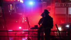 Firefighters Combat a Blaze in a Coffee Shop in Ottawa Canada - stock footage