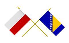 Stock Illustration of Flags, Poland and Bosnia and Herzegovina