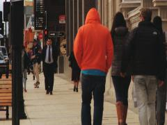 Stock Video Footage of People walk by the street of Punta Arenas town, Chile.