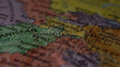 Afghanistan and Iran - Globe Map Element for Documentary, News and Travel Stock Footage