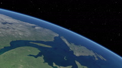 Orbital flyover of upper North American Atlantic coast (cloudless) Stock Footage
