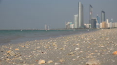 Stock Video Footage of Abu Dhabi, defocused skyline, view from Corniche beach