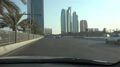 Abu Dhabi, driving towards the Etihad Towers Stock Footage