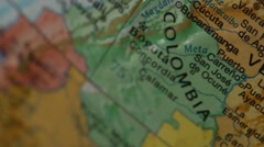 Colombia and Venezuela - Globe Map Element for Documentary, News and Travel Stock Footage