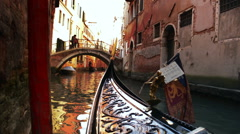 Gondola with tourists in Venice Italy Stock Footage