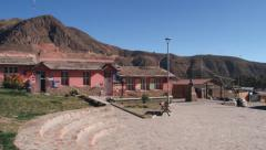 Exterior of the central square of the town of Putre, Chile. Stock Footage