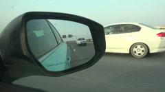 Mirror of a taxi in Doha, Qatar Stock Footage