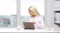 Smiling woman secretary with digital tablet and coffee Stock Footage