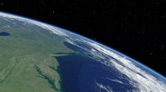 Orbital flyover of lower North American Atlantic coast Stock Footage