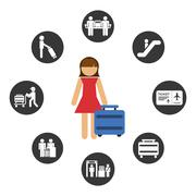 airport signs - stock illustration