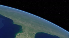 Stock Video Footage of Orbital flyover of the Florida peninsula (cloudless)