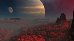 Gas giant, moon and the red planet Stock Footage