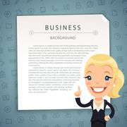 Aquamarine Business Background with Business-Lady - stock illustration