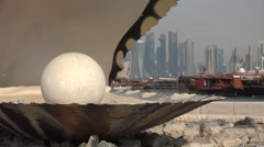Doha, the Pearl Monument Stock Footage