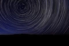 Night Exposure Star Trails of the Sky - stock photo