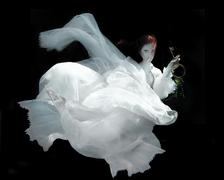 Woman Underwater Wearing White Gown - stock photo