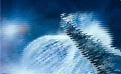 Abstract expressionism, fantastic blue landscape - stock illustration