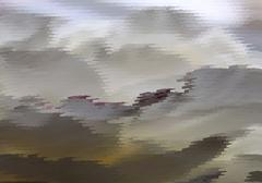 Abstract fantastic grey landscape - stock illustration