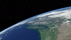 Orbital flyover of the upper North American Pacific coast Stock Footage