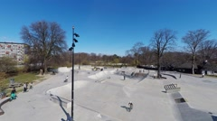 Skaters having fun in the skaterpark Stock Footage