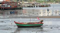 Fishing boat, mud flats, egret birds & traditional village & pier Stock Footage