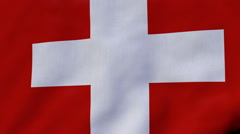 FullHD 60 FPS seamless loop with waving flag of Switzerland Stock Footage